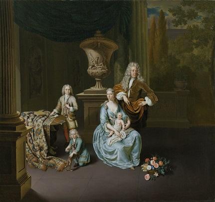 038 SK-A-4824 (1) Willem van Mieris Diederik baron van Leyden met zijn gezin 1738 RM
