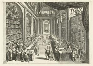 042 RP-P-BI-5324 (1) Bezoekers in het natuurhistorisch kabinet van Levinus Vincent in Haarlem, Andries van Buysen (Sr.), naar Romeyn de Hooghe, ca. 1706