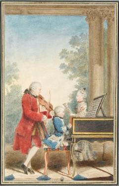 007 a Louis_Carrogis_dit_Carmontelle_-_Portrait_de_Wolfgang_Amadeus_Mozart_(Salzbourg,_1756-Vienne,_1791)_jouant_à_Paris_avec_son_père_Jean.. in Parijs 1763 musee conde