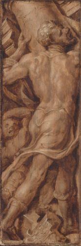 SK-A-3511 Simson verbrijzelt de zuilen van de tempel, Maarten van Heemskerck, ca. 1550 - ca. 1560 olie op paneel.jpg