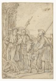 002 RP-T-1895-A-3052 Baljuw laat de koe wegvoeren, Willem Pietersz. Buytewech, 1619 pen en krijt