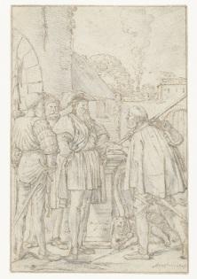 004 RP-T-1895-A-3048 Schout van Dordrecht ontvangt de brief van de graaf, Willem Pietersz. Buytewech, 1619