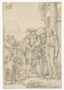 006 RP-T-1895-A-3054 Schout van Dordrecht betaalt de boer schadevergoeding, Willem Pietersz. Buytewech, 1618