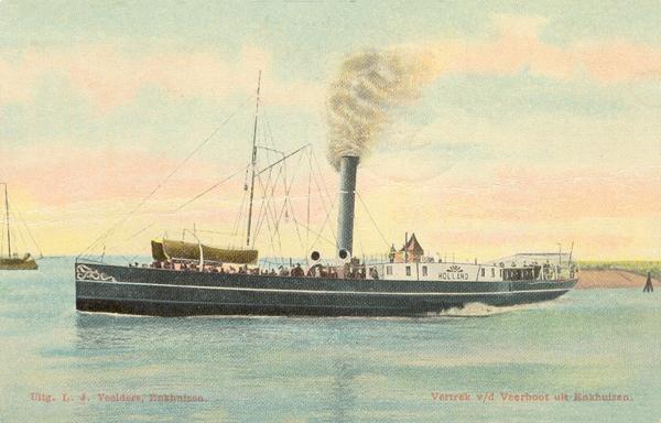Spoorhaven vertrek veerboot Holland omstreeks 1910