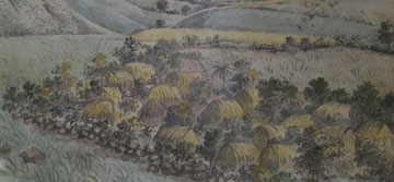 001 lieutenant james lees dated c1795, showing slave villages near brimstone hill, st kitts. aqu