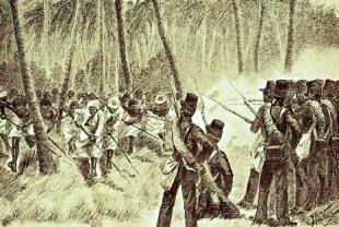 006 Aanval_der_Baliers_bij_Kasoemba 2de expeditie Bali 1848