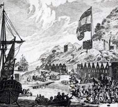 Het plunderen van sint Eustatius