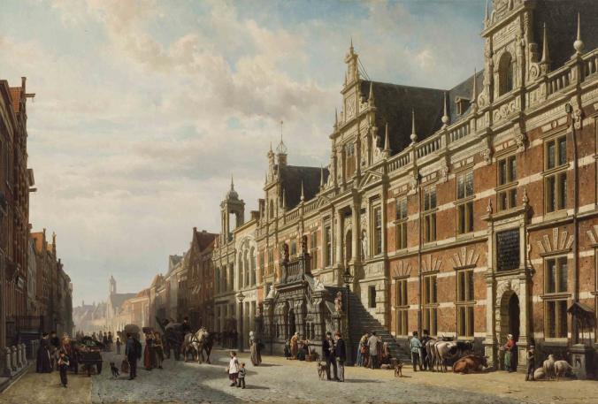 Het_stadhuis_te_Leiden_door_Cornelis_Springer (1)