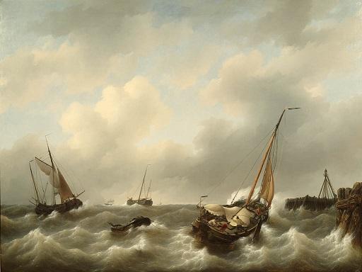 Petrus Johannes Schotel storm voor Medemblik 1840 Teylers Museum