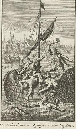 RP-P-OB-79.594 Een Spanjaard overvalt een geuzenboot, 1574, Jan Luyken, 1697 - 1699
