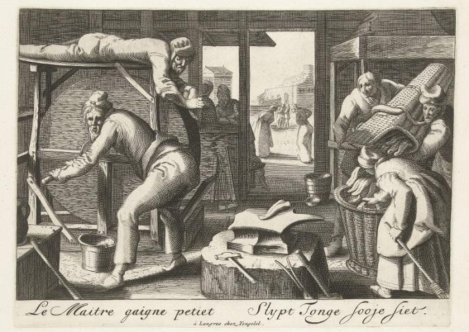 RP-P-OB-82.692 De tongenslijpers, 1689, Hendrick Goltzius (atelier van), naar Karel van Mander (I), 1689