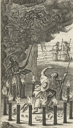 009 c RP-P-BI-2206 (1) Heks tovert demonen voor Willemynken, Boëtius Adamsz. Bolswert, 1590 - 1627 fakkels, delen dieren, tover demonen in wolk