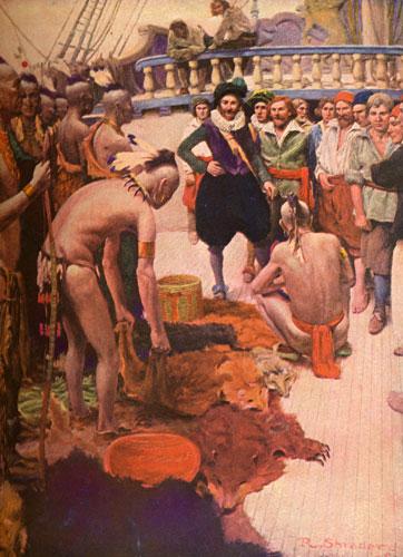 093Henry Hudson onderhandelt met de Indianen