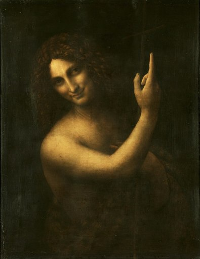 791px-Leonardo_da_Vinci_-_Saint_John_the_Baptist_C2RMF_retouched Louvre