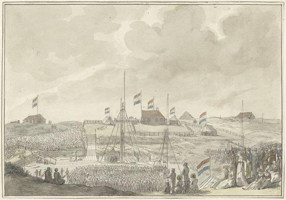 RP-T-00-1764 Het leggen van de eerste steen voor de grote sluis te Katwijk, 7 augustus 1805, Franciscus Andreas Milatz, 1805