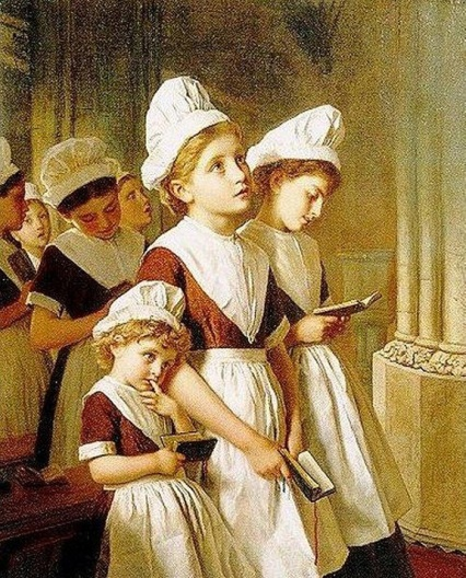 005 25367582_Foundling_Girls_in_their_School_Dresses_at_Prayer_ Sophie Anderson 1877 Thomas Coram Foundation, London