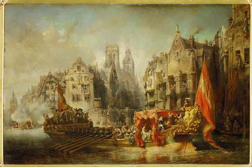 AKG249030 Alva komt aan in Rotterdam. Eugene Isaby 1844 Musee d'Orsay