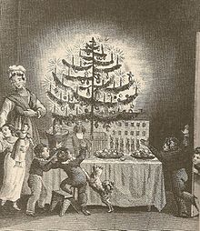 1836-print-of-american-christmas-tree First published image of a Christmas tree, frontispiece to Hermann Bokum's 1836 The Stranger's Gift