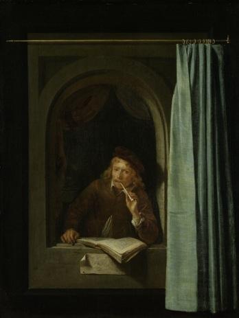 020 a SK-A-86 Pijprokende man, Gerard Dou, ca. 1650 zelfportr