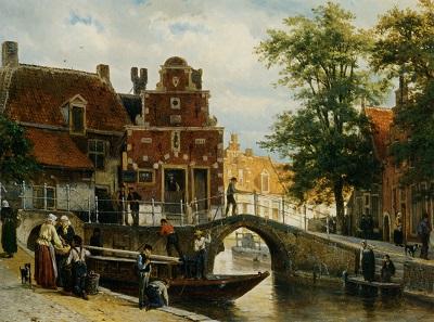 a-view-of-franeker-with-the-zakkend-ragerschuisje-1872 Cornelis Springer