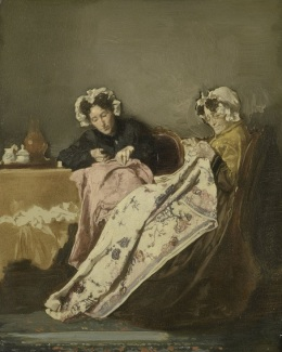 026 c SK-A-2260 Twee dames bezig met naaiwerk, Alexander Hugo Bakker Korff, ca. 1860 - ca. 1882
