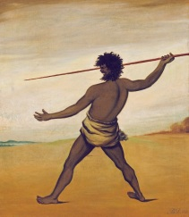 Benjamin_Duterrau_-_Timmy,_a_Tasmanian_Aboriginal,_throwing_a_spear_-_Art Gallery of South Australia