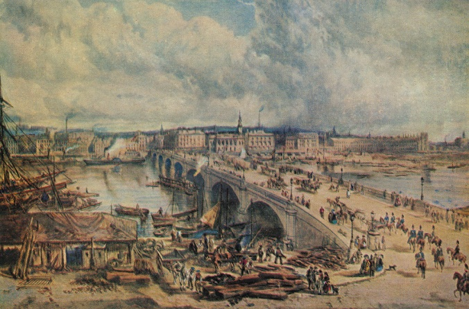 TGSA00604 painting by Sam Bough of Glasgow Bridge in 1850,
