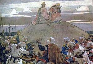 300px-Trizna_1899 Kurgan - Oleg being mourned by his warriors, an 1899 painting by Viktor Vasnetsov.