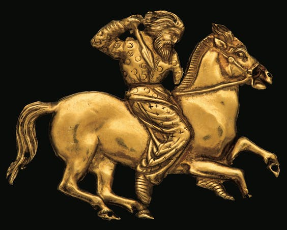 A gold plaque depicting a Scythian rider with a spear in his right hand; Gold; Second half of the fourth century BC; Kul_Oba. The State Hermitage Museum, St Petersburg, 2017. Photo V T