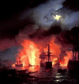 Ivan_Constantinovich_Aivazovsky_-_Battle_of_Çesme_at_Night Aivazovsky Gallery, Feodosia Krim