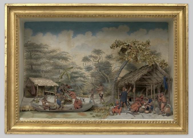 H 002 NG-2010-4 Diorama van een Caraïbenkamp, Gerrit Schouten, 1810