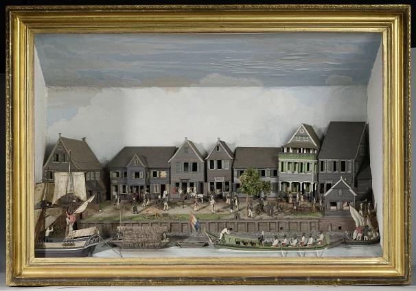 H 015 NG-2007-50 Diorama van de Waterkant van Paramaribo, Gerrit Schouten, 1820