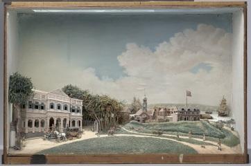 H 015 NG-412 Diorama van het Gouvernementsplein in Paramaribo, Gerrit Schouten, 1812