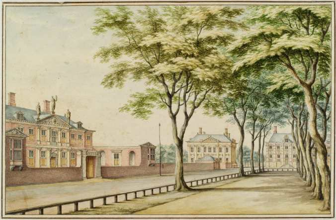 001 Huy1690 residence from Constantijn Huygens (left), Plein in The Hague. 1690