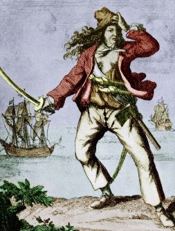 Mary Read (1690-1720) english woman pirate, engraving, colorized document