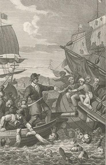 001 RP-P-OB-84.484 Redding van Adriaan van der Kam, 1755, Philippus Velijn, naar Jacob Smies, 1823 - 1829 in gevehct met Algerijnen